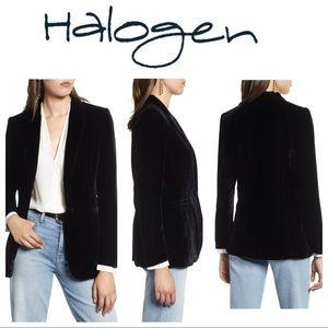 NWT Halogen Black Velvet One Button Blazer sz 8